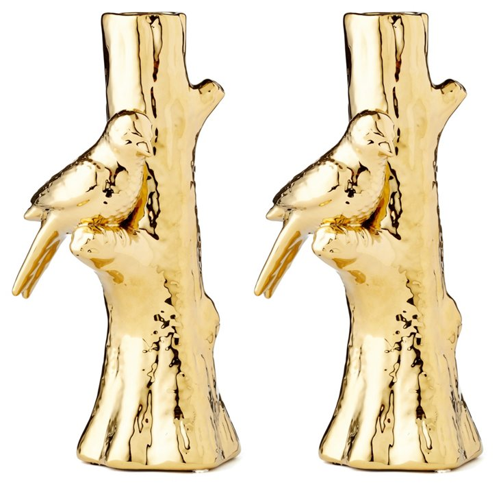 Ceramic Bird Vases, Asst. of 2