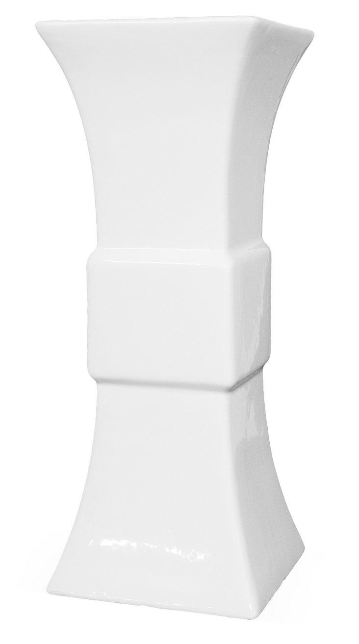 """18"""" Flared Gloss Vase, White"""