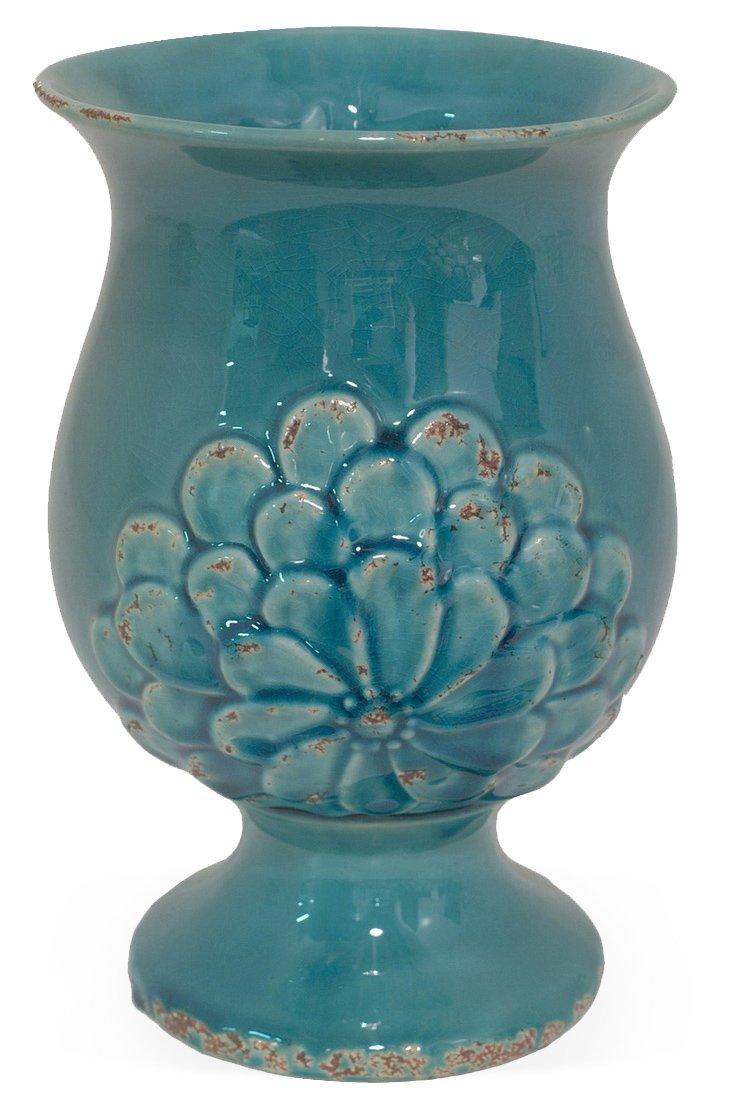 """11"""" Daisy Vase, Blue"""
