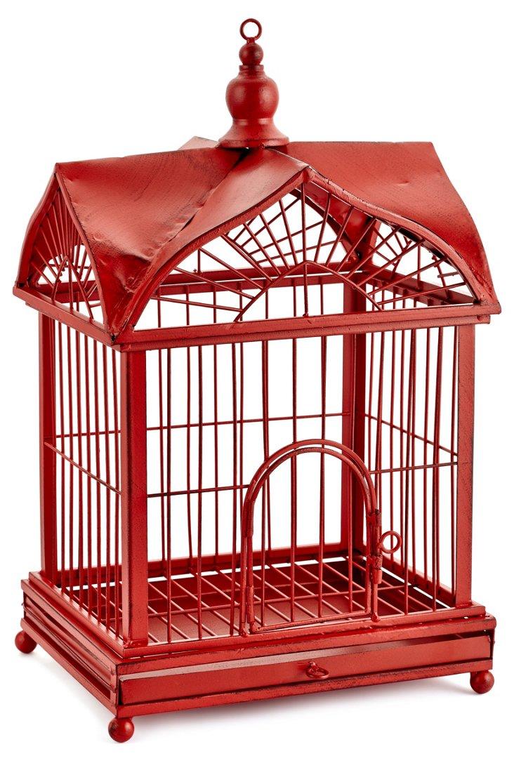 Metal Home Birdcage, Red
