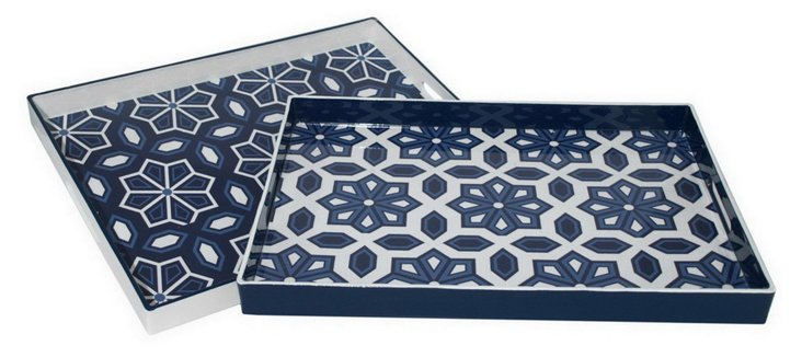 Asst. of 2 Patterned Trays, Blue