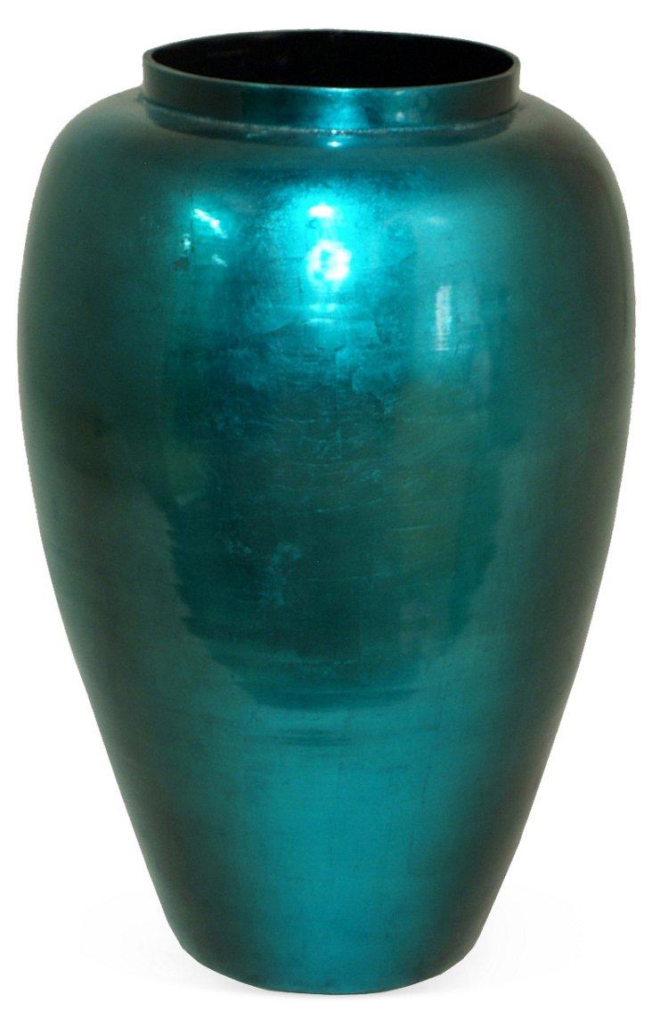 "18"" Bamboo Vase, Aqua"