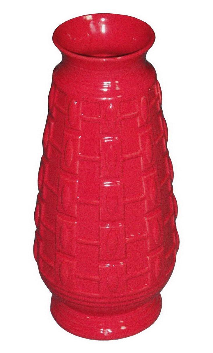 """18"""" Textured Ceramic Vase, Red"""