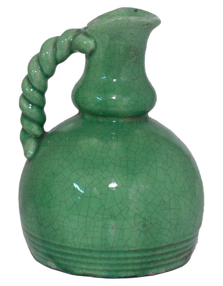 "10"" Crackled Terracotta Vase, Green"