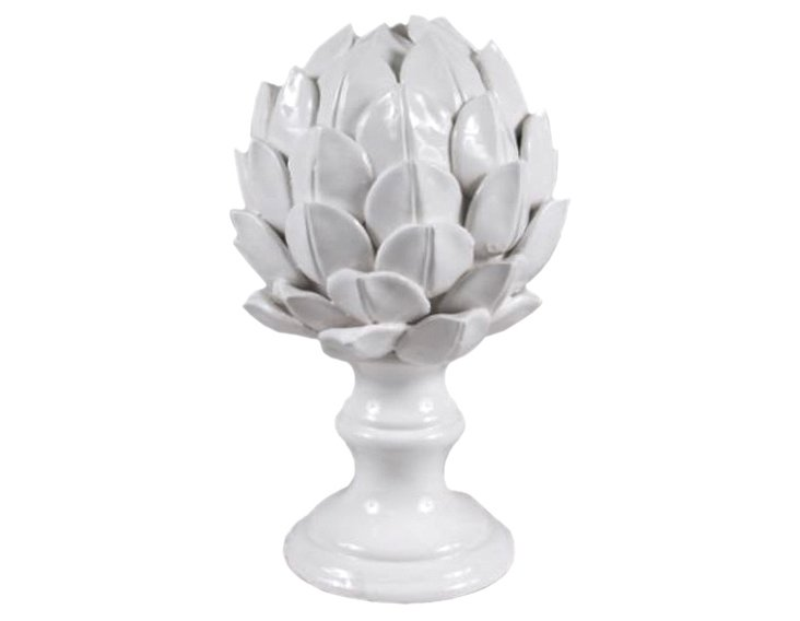 "10"" Ceramic Artichoke Finial, White"