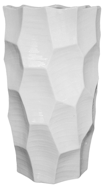 "20"" Geodesic Ceramic Vase, White"