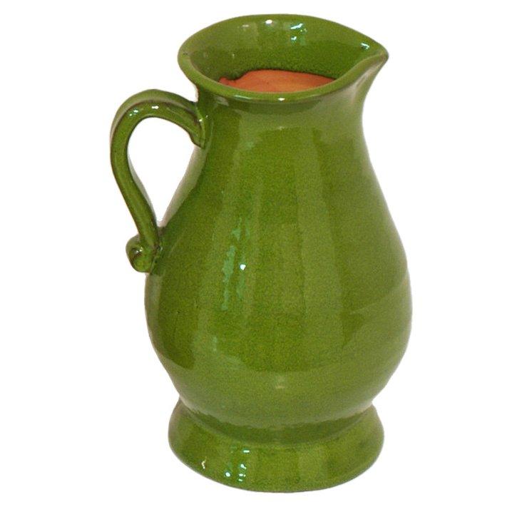 "11"" Ceramic Pitcher Vase, Green"