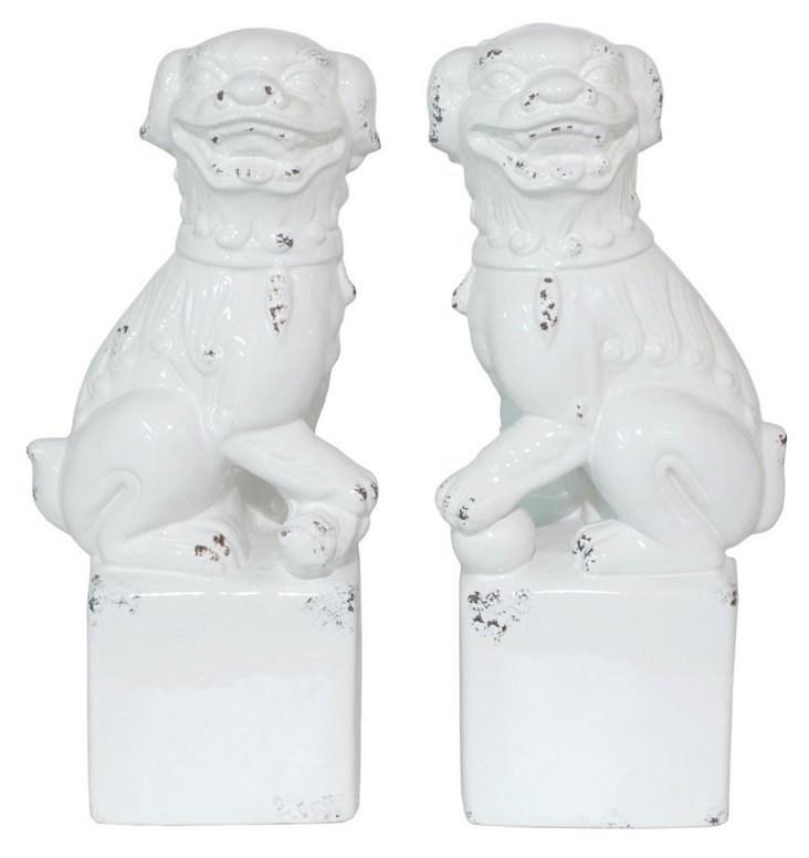 """Pair of 15"""" Foo Dogs, White"""