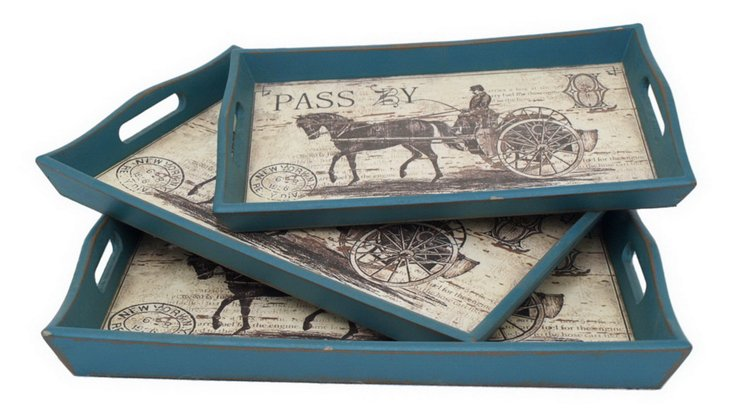 Horse  & Buggy Trays, Asst. of 3