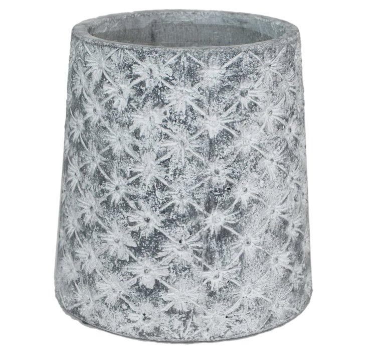 """10"""" Flower Etched Cement Vase, Gray"""