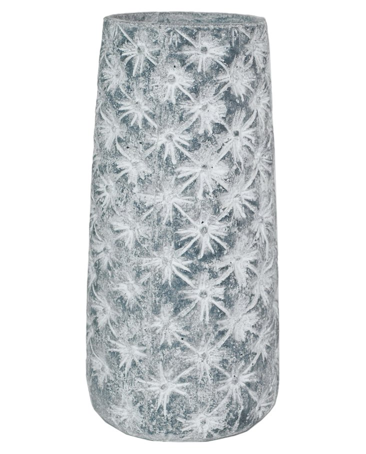 """14"""" Flower Etched Vase, Gray"""