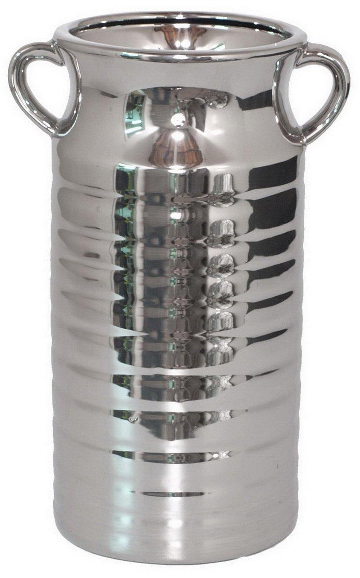 """12"""" Ceramic Vase, Silver"""