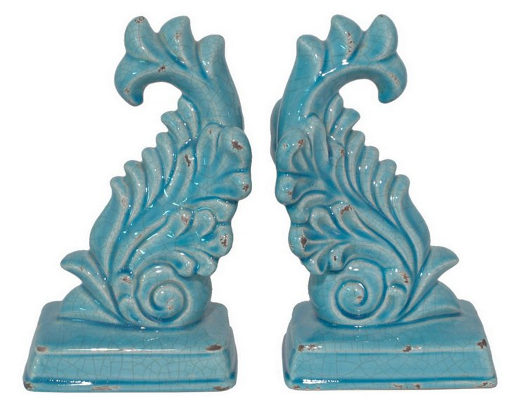 Pair of Crackle Wave Bookends, Blue