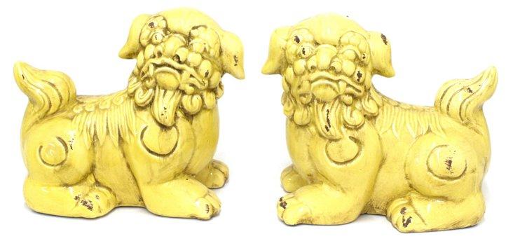 Pair of Lying Foo Dogs, Yellow