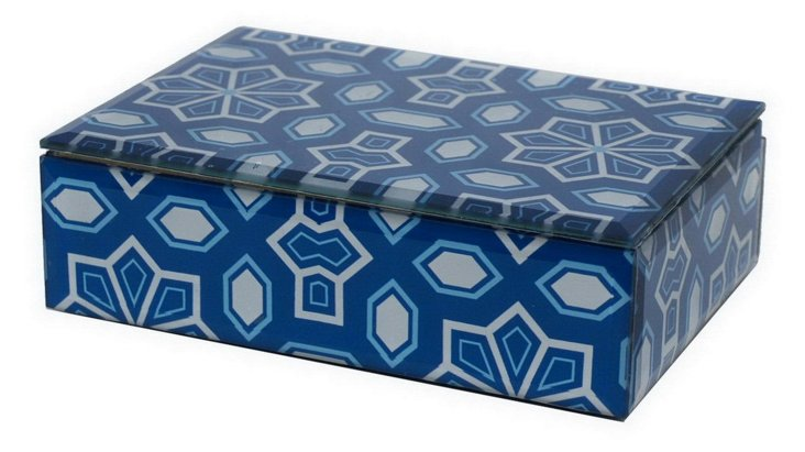 "7"" Decorative Design Glass Box, Blue"