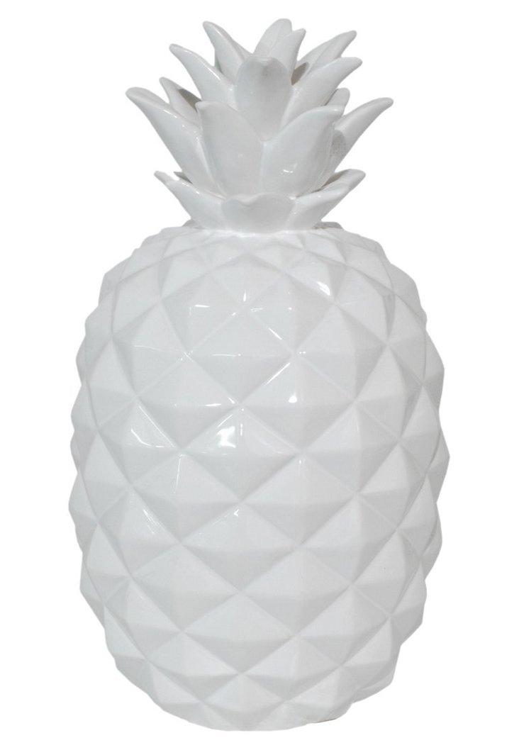 "15"" Ceramic Pineapple Figurine, White"