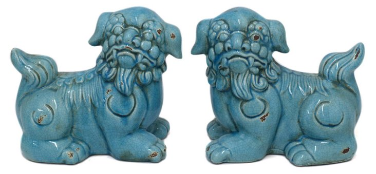 "10"" Laying Foo Dogs, Blue"