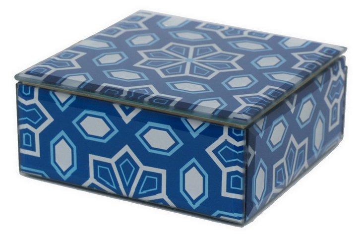 "5"" Decorative Geometric Glass Box, Blue"