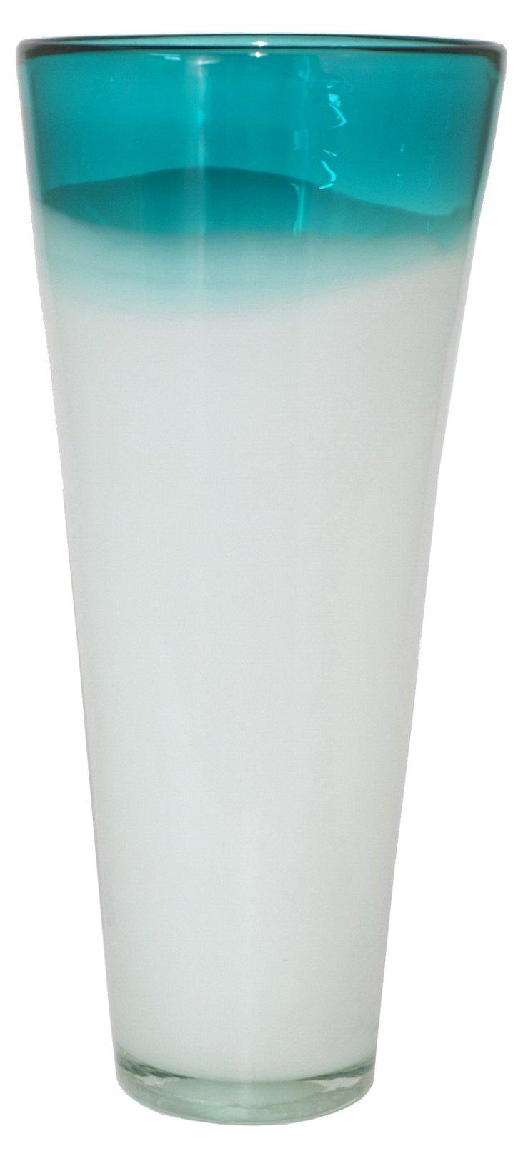 "20"" Sea Side Vase, Blue/White"