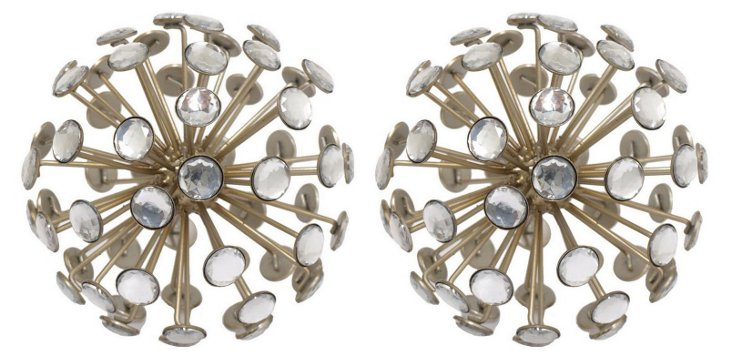 """Pair of 7"""" Jeweled Orbs, Gold"""