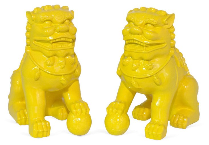 Pair of Foo Dog Bookends, Yellow
