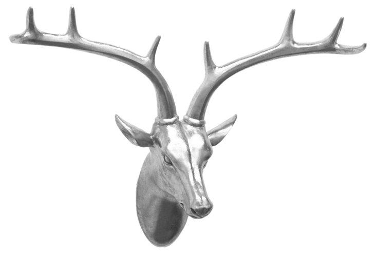 Deer Head Wall Decor, Silver