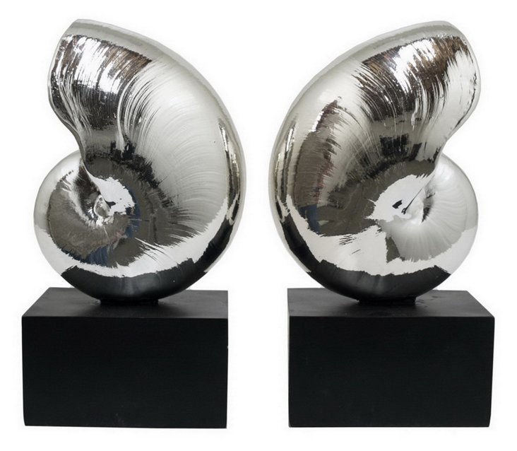 Pair of Shell Bookends, Silver