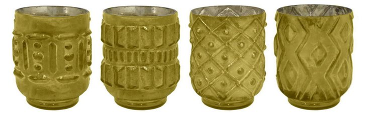 "Asst. of 4 6"" Votive Holders, Olive"