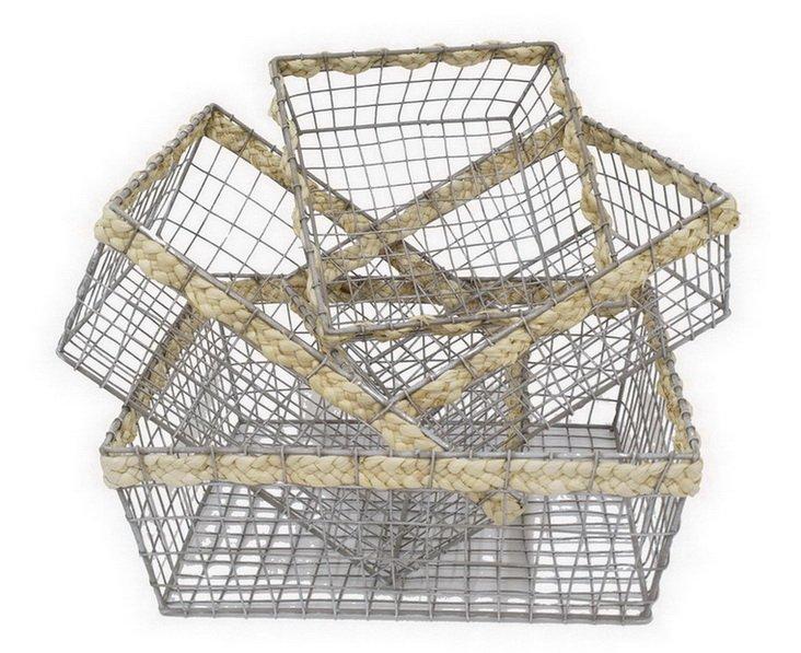 Asst of 4 Metal Braided Baskets
