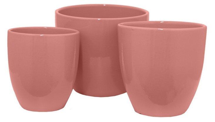 Asst. of 3 Ceramic Planters, Pink