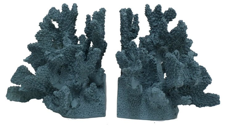 Pair of Coral Bookends, Blue