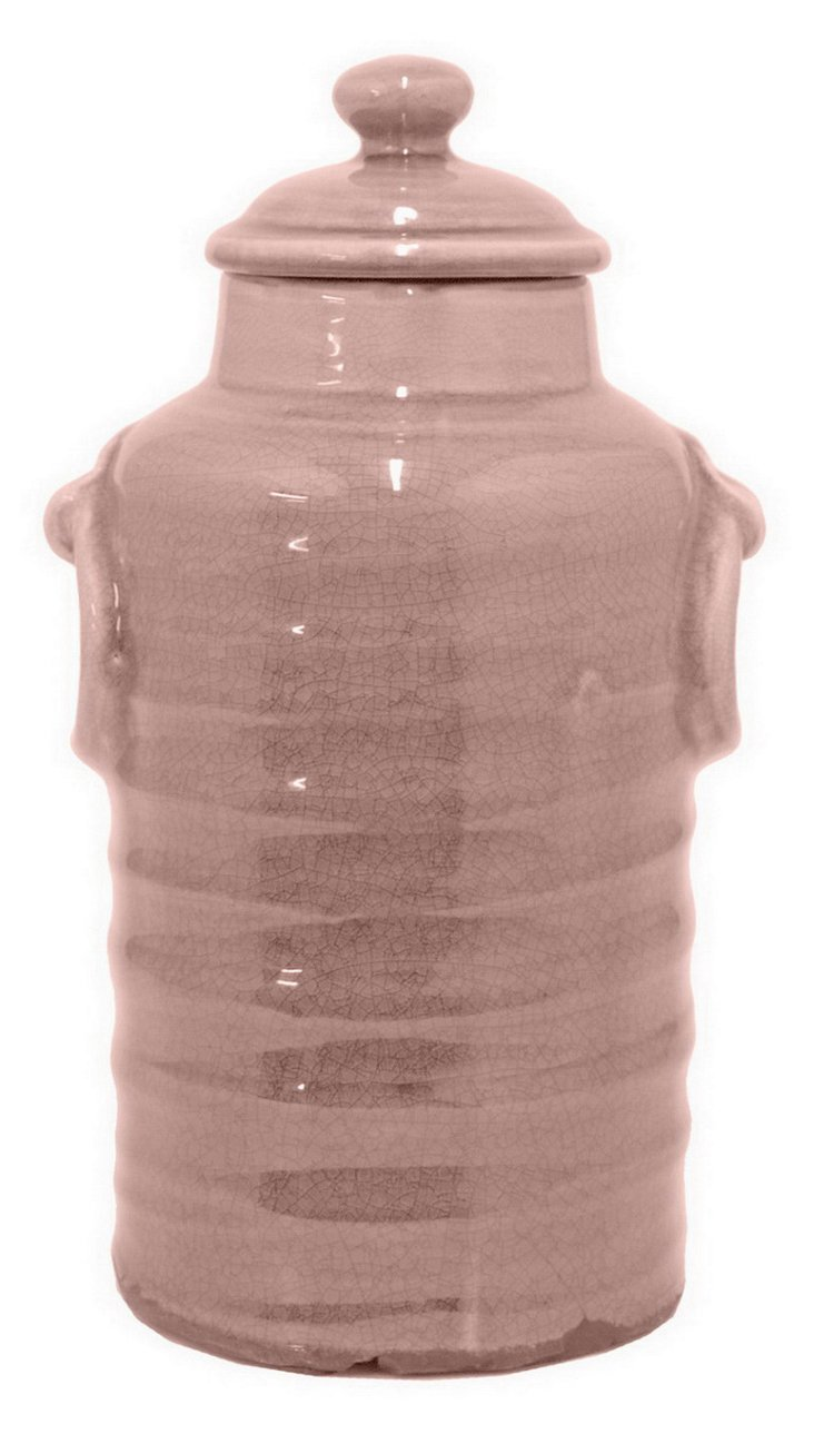 "13"" Ribbed Canister, Blush"