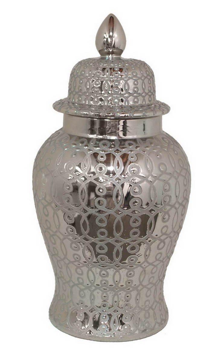 """25"""" Silver Design Ginger Jar"""