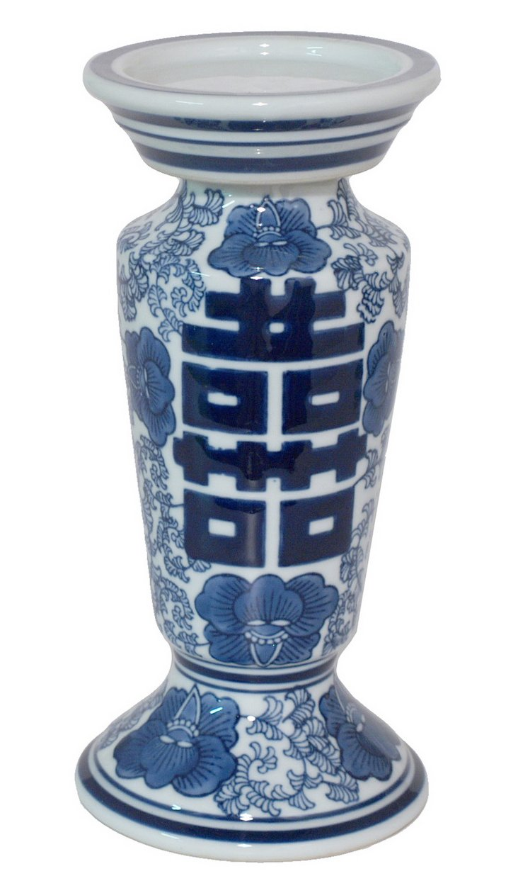 "9"" Ceramic Candleholder, Blue/White"