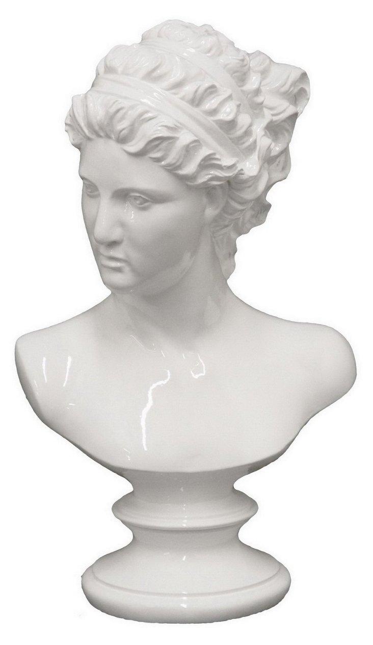 "14"" Female Bust Figurine, White"