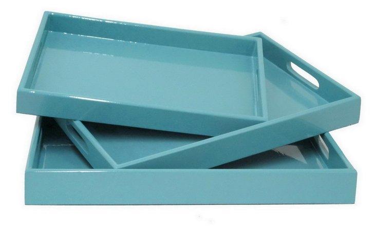 Asst. of 3 Sky Blue Trays