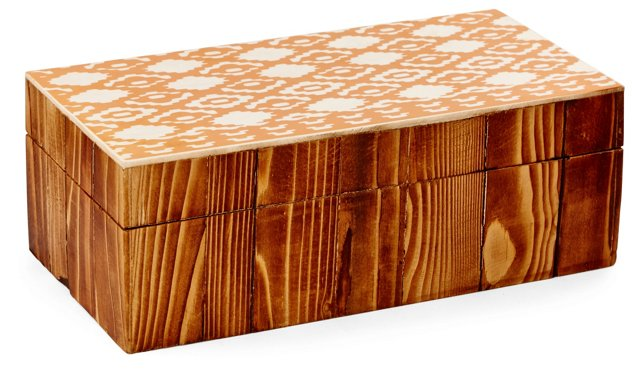 "8"" Decorative Diamond-Print Box, Tan"
