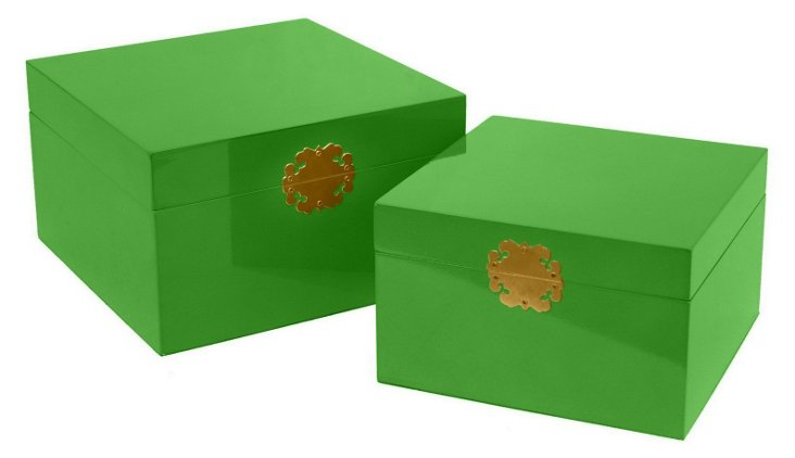 Asst. of 2 Wood Boxes, Green