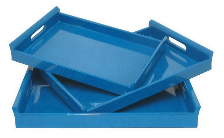 Asst. of 3 Wood Trays, Blue