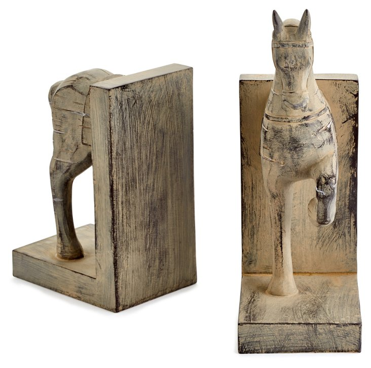 Trotting Horse Bookends, Brown