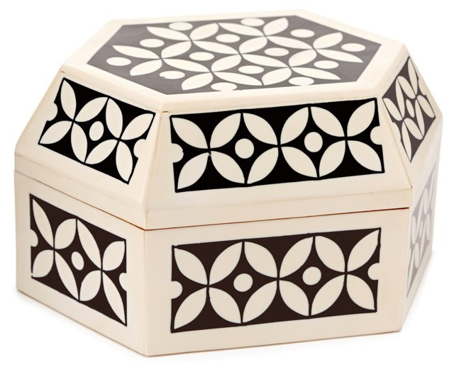 "7"" Decorative Box, Black/White"