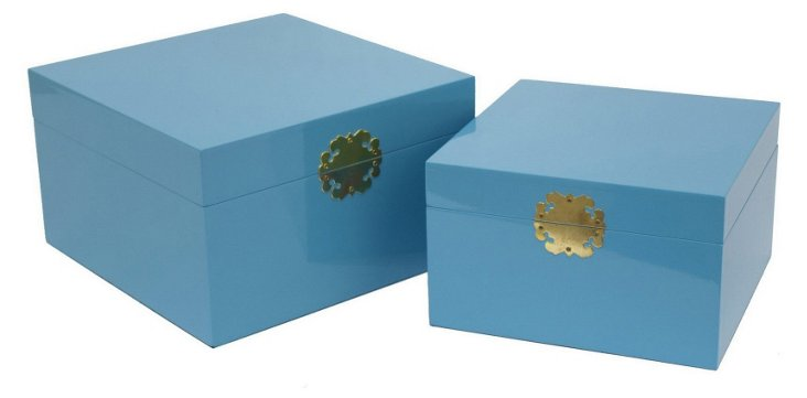 Asst. of 2 Wood Boxes, Blue