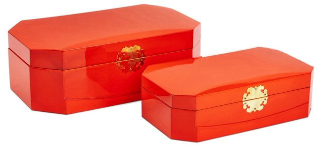 Asst. of 2 Royal Wood Boxes, Orange