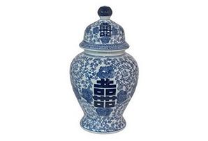 "15"" Ceramic Jar w/ Lid, Blue/White"