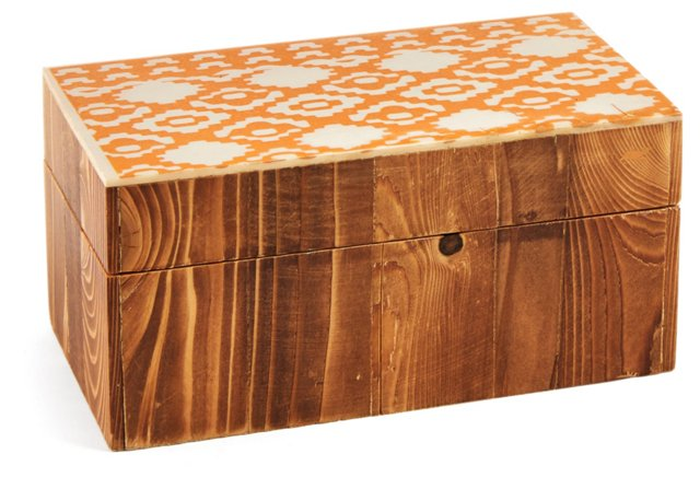 "6"" Decorative Diamond-Print Box, Tan"