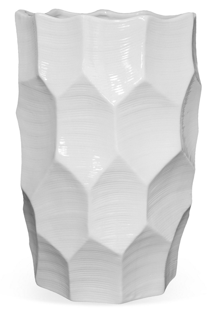 "16"" Ceramic Textured Vase, White"