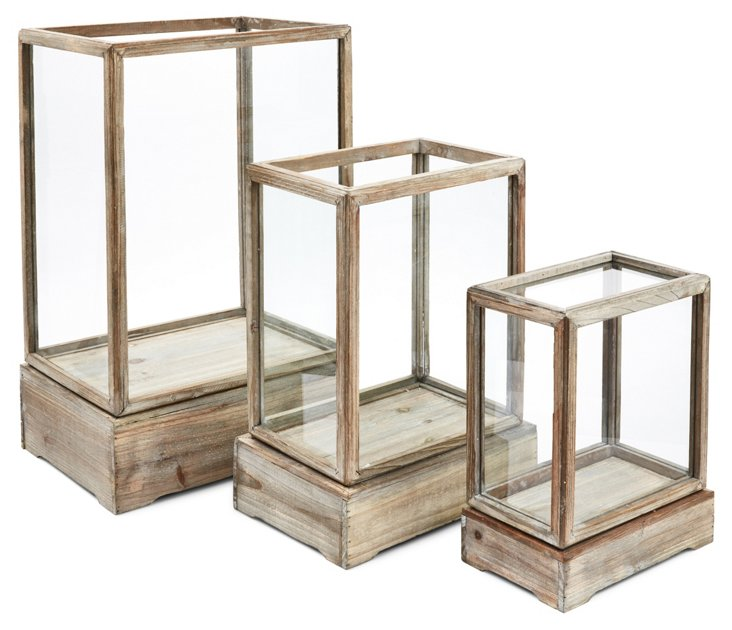 Asst. of 3 Wood & Glass Display Boxes