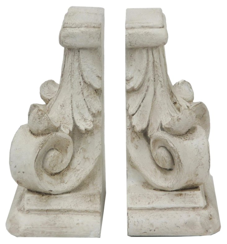 Pair of Scroll Bookends, White