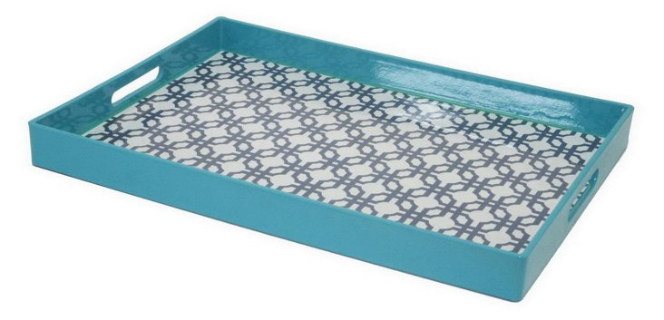 "16"" Square Tray, Blue"