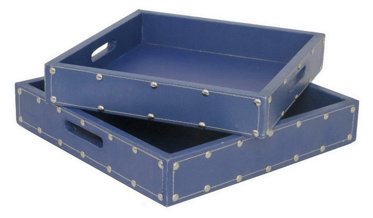 Asst. of 2 Square Studded Trays, Blue